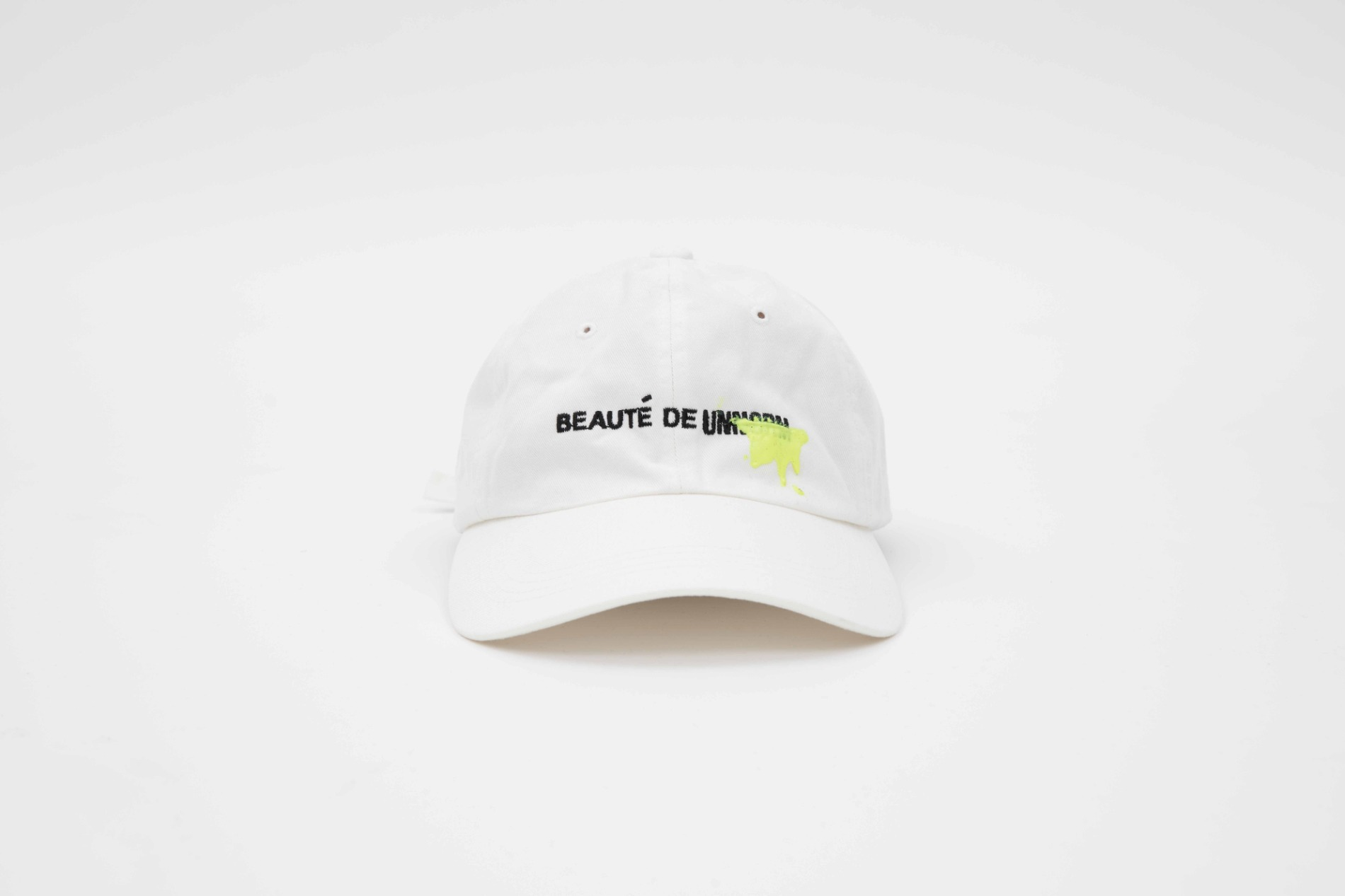 [UNNORM] Washed White Ball Cap (Neon graffiti)